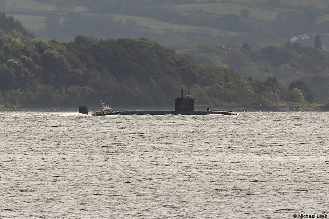 Royal Navy Trafalgar-class nuclear fleet submarine HMS Talent, S92; Firth of Clyde, Scotland