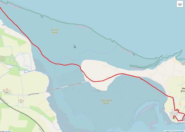My route to Holy Island