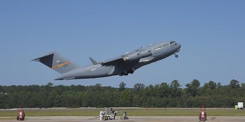 USAF New Airshow Star Boeing C-17 Globemaster III takes off from NAS OCEANA  Va   (NTU/KNTU)