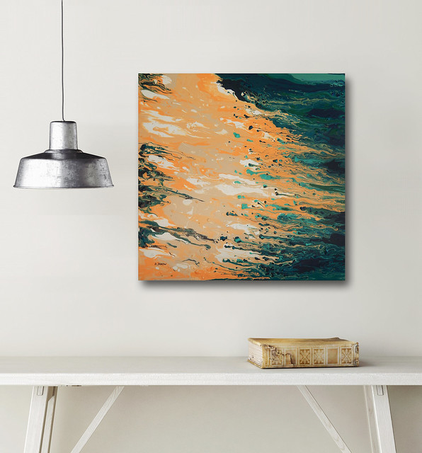 Beach Coastal Painting, Acrylic Pour Painting on Canvas, Turquoise Wall Art, Fluid Art Abstract Painting, Contemporary Art