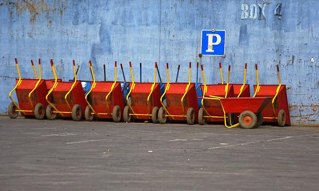 Red wheelbarrows
