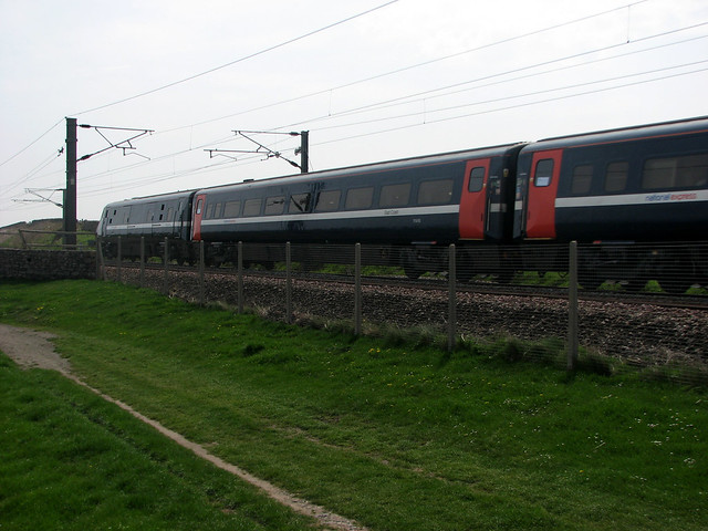 Train on the East Coast Main Line near Berwick-upon-Tweed