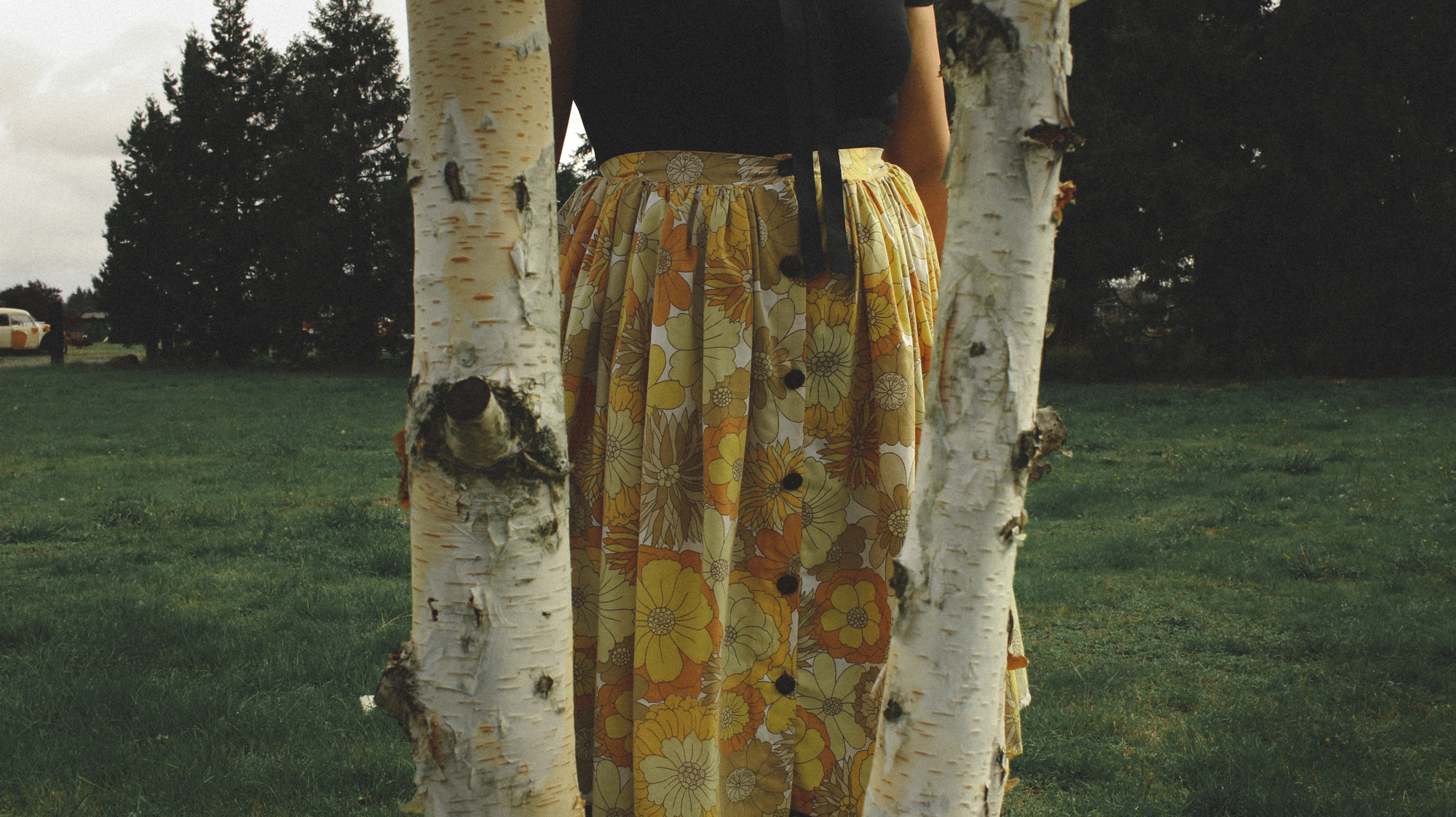 close up of a yellow floral skirt