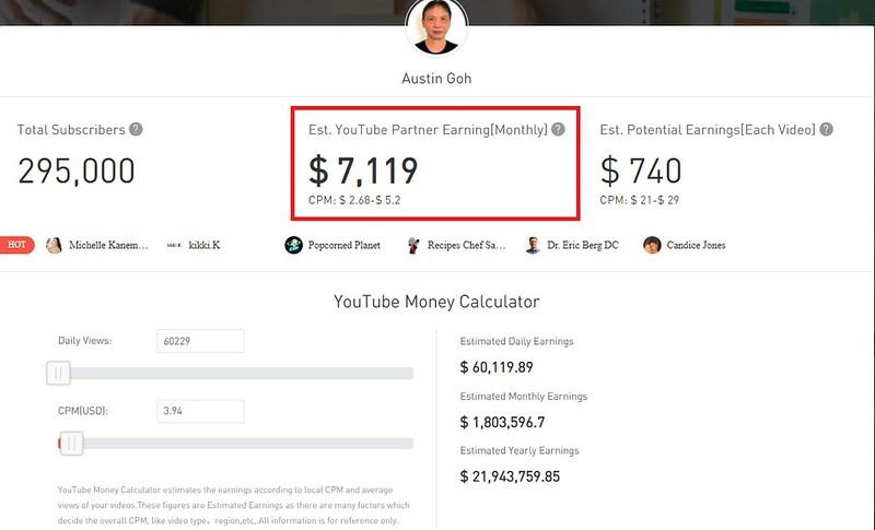 Austin Goh YouTube Money Calculator