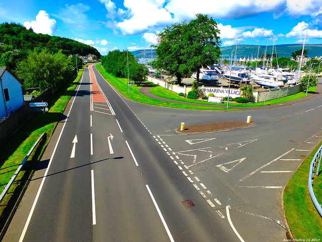 Scotland the main west coast road and the turn off at Inverkip for the Kip Marina 10 June 2019 by Anne MacKay