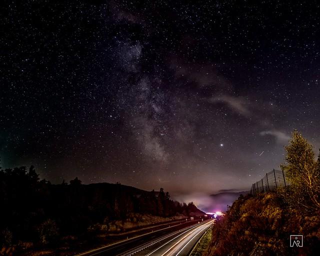 Highway foggy Milky way