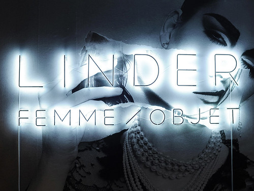 Neon sign, set in Apfel's bespoke Linderama typeface, for the 'Linder: Femme / Objet' exhibition in Paris, 2013.