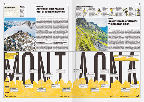 Dramatic double-page spread infographics (both created by Matteo Riva) with precisely designed integrations  of type and graphics continue Franchi's approach to content and page design pioneered at IL magazine.