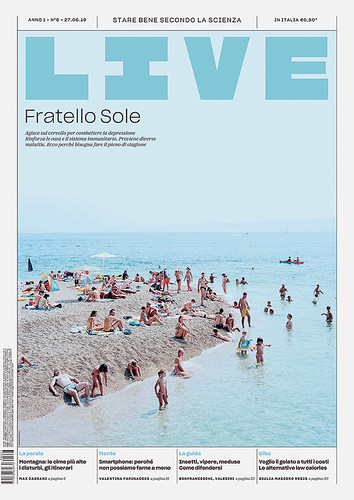 Live front page: a changing, modular design system and flexible masthead  can incorporate photography and illustration at varied scales, giving a different expression to each month's contents. Supplement designer: Giovanni Cavalleri.
