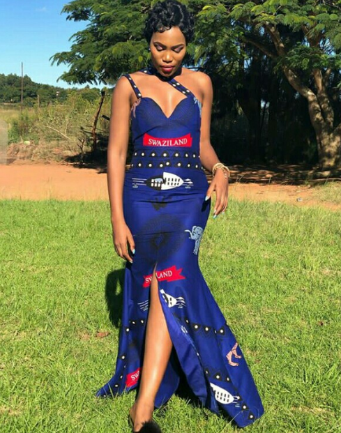 Nothando Hlophe In Blue Swati Emahiya Corset Style Mermaid Dress With Slit