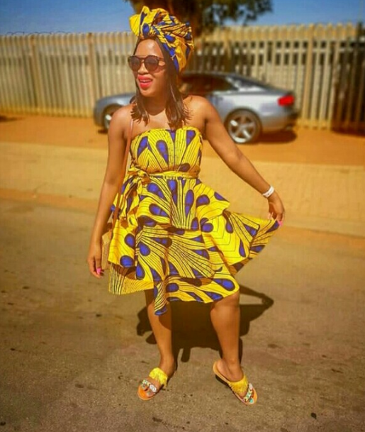 African Print Boob Tube Layered Dress
