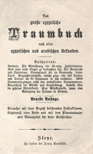 """""""Das große egyptische Traumbuch"""", Titelblatt"""