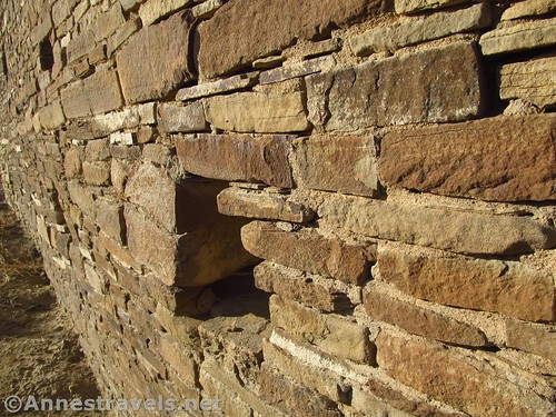 Close up of the stonework in Pueblo del Arroyo, Chaco Culture National Historical Park, New Mexico