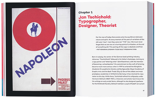 Spread from Jan Tschichold and the New Typography showing a 1927 Tschichold poster for the Phoebus Palast cinema in Munich, Germany.