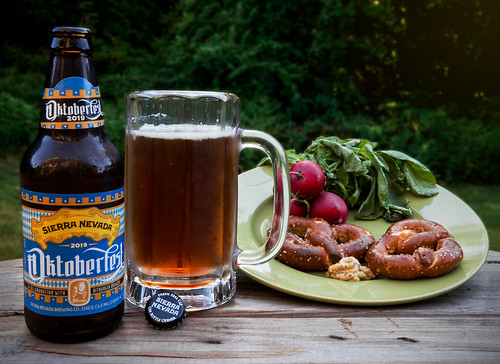 Still life with Oktoberfest, pretzels, & radishes