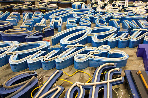 Berlin's Buchstabenmuseum, with letters arranged according to colour. Photograph: Inkahoots.