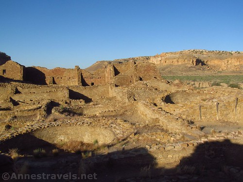 Looking out across the ruins of Pueblo del Arroyo, Chaco Culture National Historical Park, New Mexico