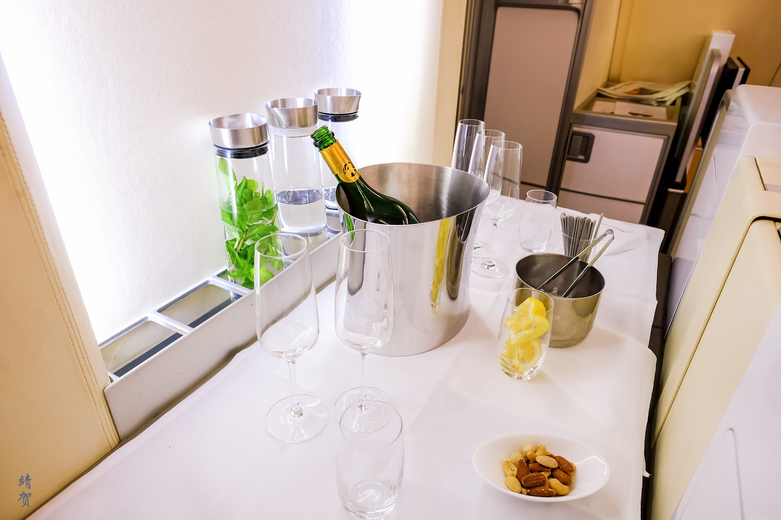 Champagne bar during boarding