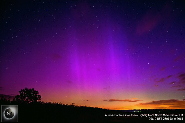 Aurora Borealis (Northern Lights) from Oxfordshire, UK 23/06/15 (Reprocess)
