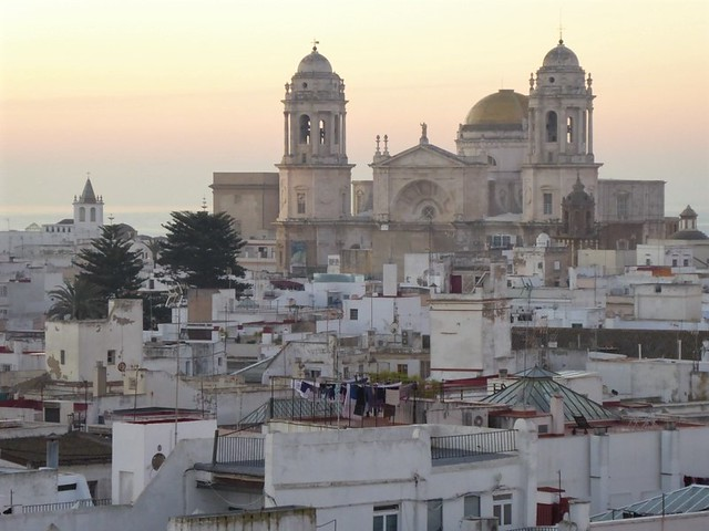 Cadiz old town - rooftops and cathedral