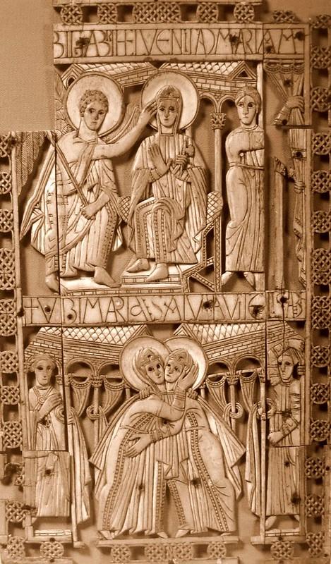 77 Благовещение. Встреча Марии и Елизаветы. Диптих VIII в. Брюссель. Королевский музей искусств и истории