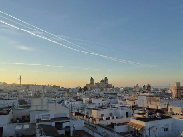 View across Cadiz old town to cathedral and Atlantic