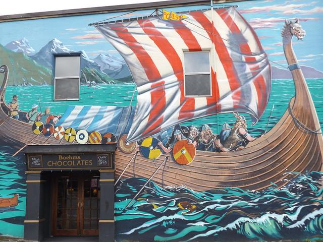 Viking Boat Mural, Front Street, Poulsbo, Washington, USA, 20 September 2019