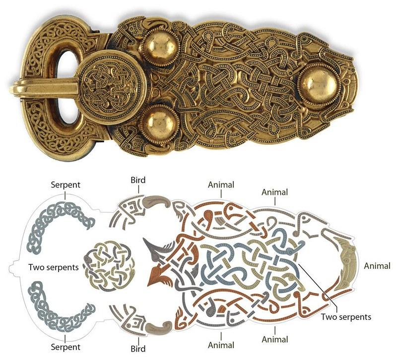 01 Образец звериного стиля, плетенка. Англо-саксонская золотая  пряжка  VII в Британский музей