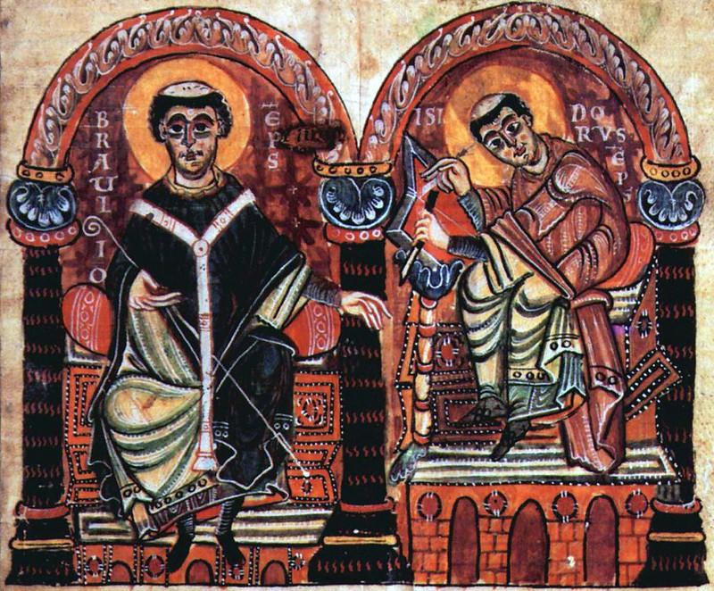 68 Епископы Браулио и Исидор Севильский (560-636) миниатюра рукописи Х в