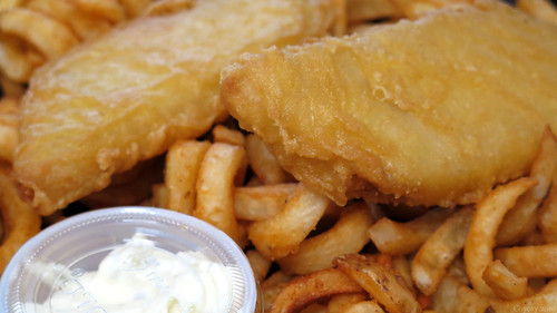 Beer-battered Cod with Curly Fries