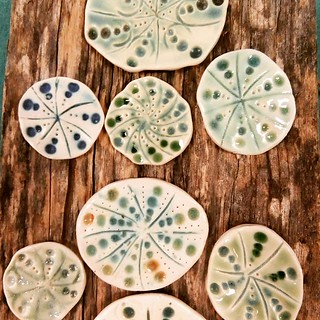 Sea Urchin Brooches porcelain