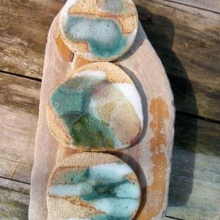 Sea Foam ceramic brooches