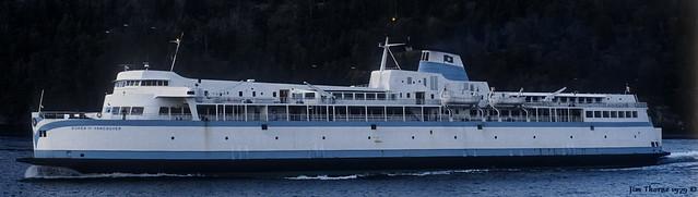 Queen of Vancouver - Swartz Bay Bound - in Active Pass off Galiano Shoreline - 25 December 1979 [© WCK-JST - Fujichrome 79-19-13] 60x17 header, 1200
