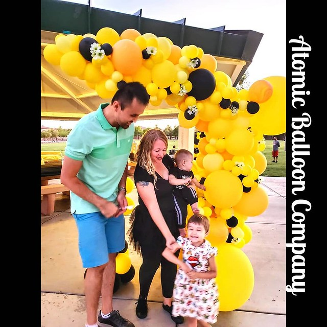 Could this first BEEday party BEE any cuter?! 😍💖🎈 #lasvegasballoondecor #firstbeeday  Atomic Balloon Company brings World Champion Balloon Artistry and Balloon Decor to every party, event, and delivery throughout Las Veg