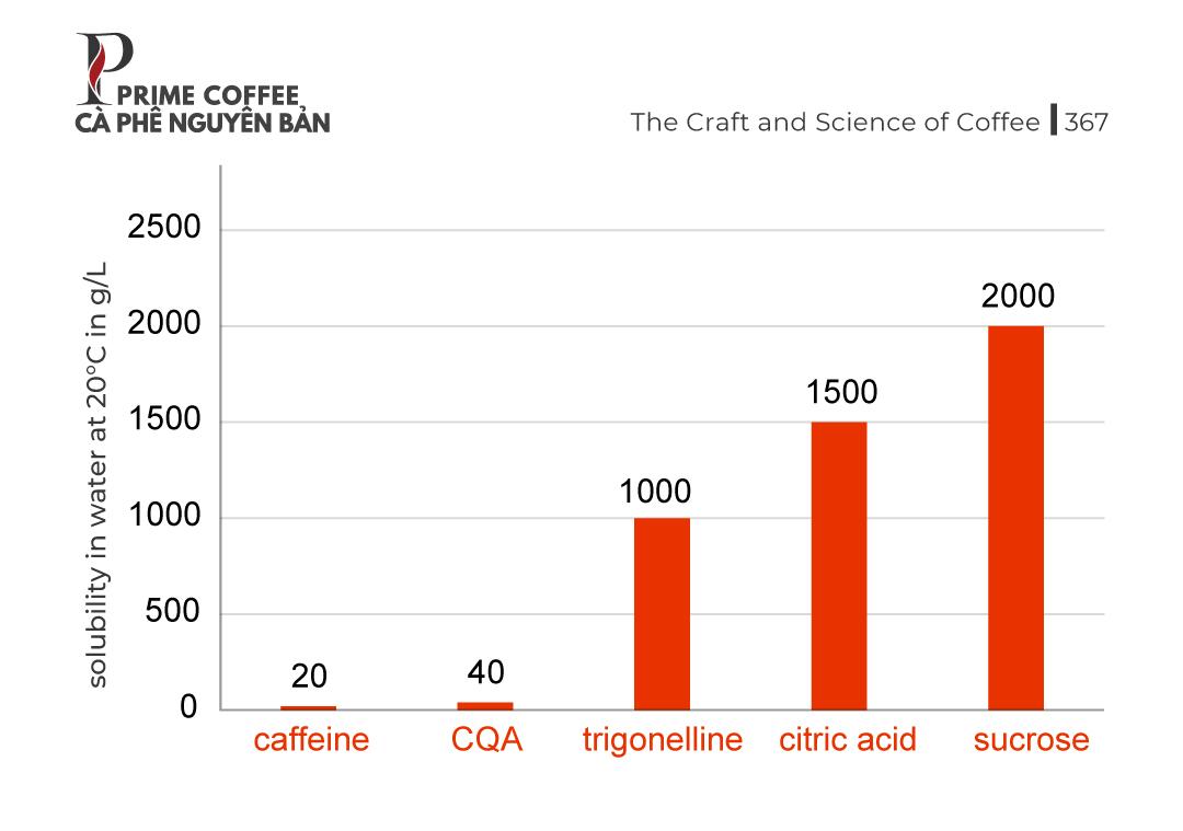 Độ hòa tan của các hợp chất cà phê chính trong nước ở nhiệt độ phòng. CQA, axit caffeoyl quinic