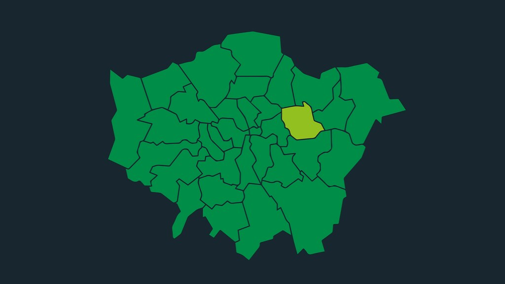 A graphic of a green map of Newham borough in London.