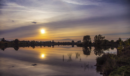 canon6d landscape waterscape lake water reflection sky clouds sun sunset nature outdoors outside uk cambridgeshire