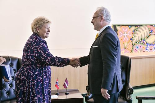 Valsts prezidenta Egila Levita divpusējā tikšanās ar Norvēģijas Karalistes premjerministri Ernu Solbergu (H. E. Ms Erna Solberg)