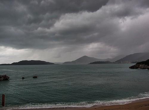 miločer crnagora rain clouds sea sky černáhora svartfjallaland beach spiaggia montenegro karadağ hotelmaestral