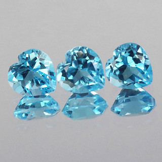 Natural Swiss Blue Topaz Heart Faceted Cut Blue Gemstone,5mm to 8mm Calibreted Loose Gemstone