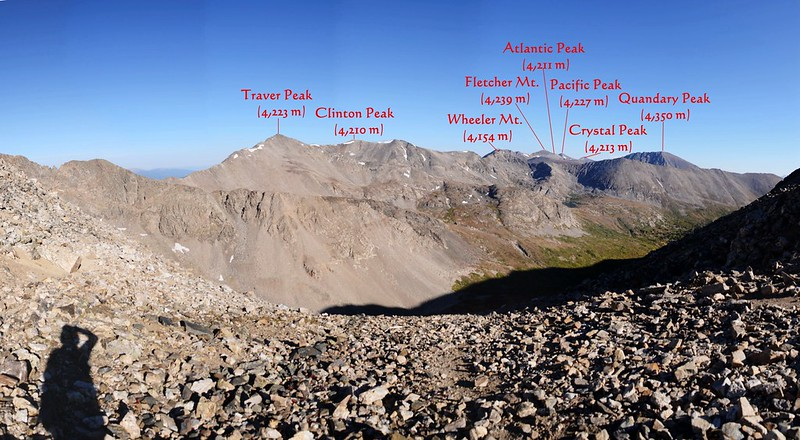 Looking north at mountains from Mount Democrat-Cameron saddle 1-1