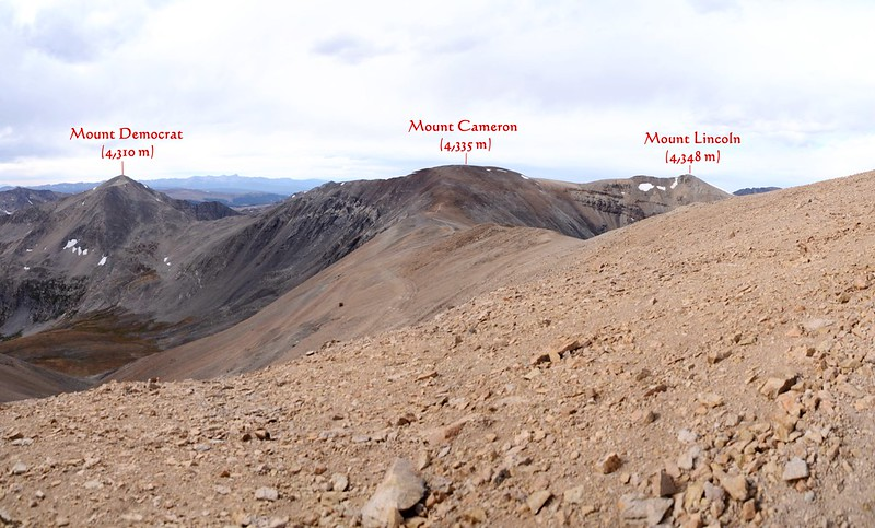 Looking northwest at Mount Democrat、Cameron & Lincoln from Mount Bross_副本