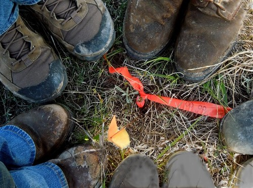 Thu, 09/26/2019 - 10:13 - Shoes of the field crew at the origin of the ForestGEO Niobrara plot.