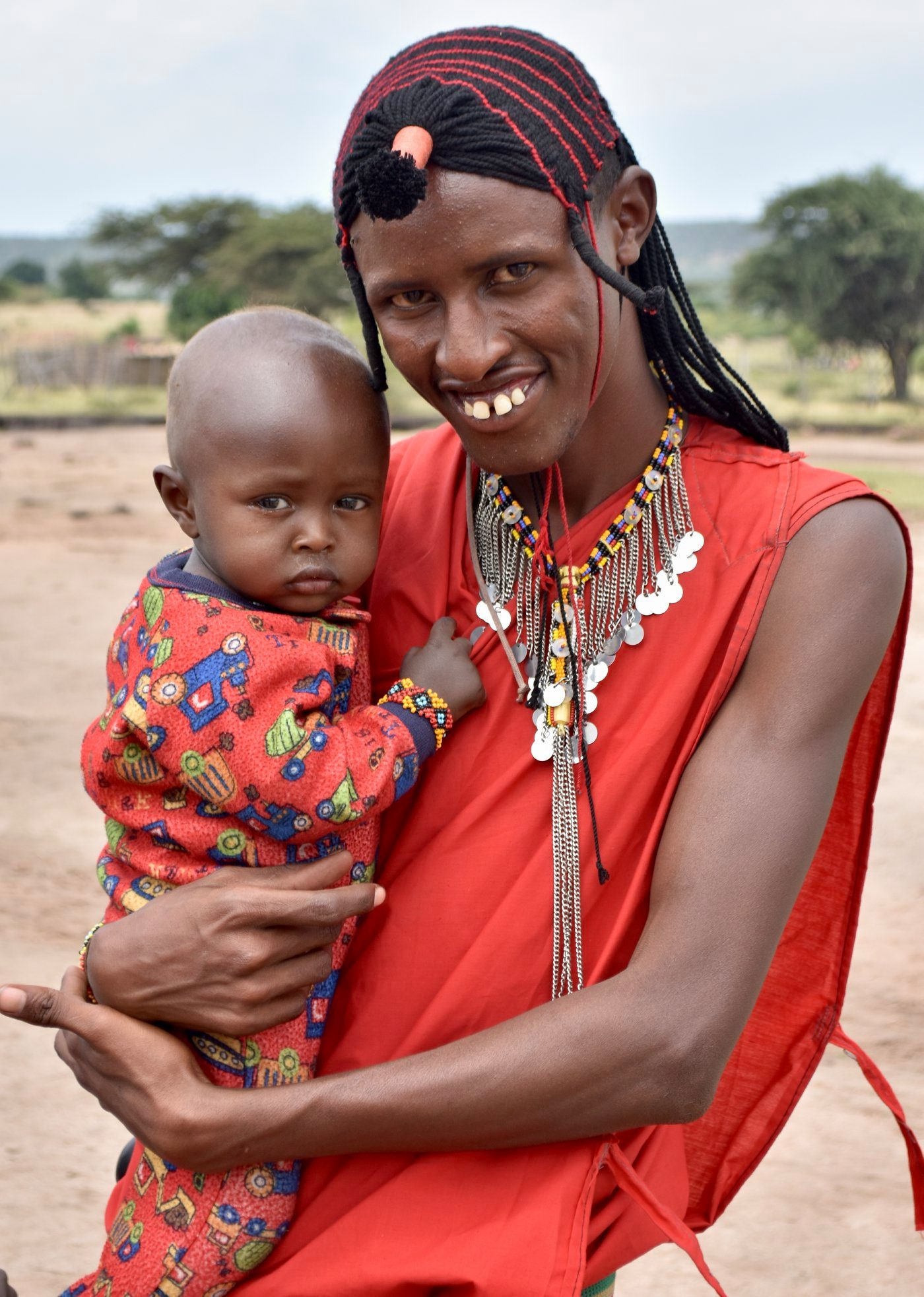 Maasai Mara man and child