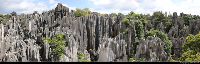 Panoramic view of Shilin Stone Forest, Shilin, Yunnan, China