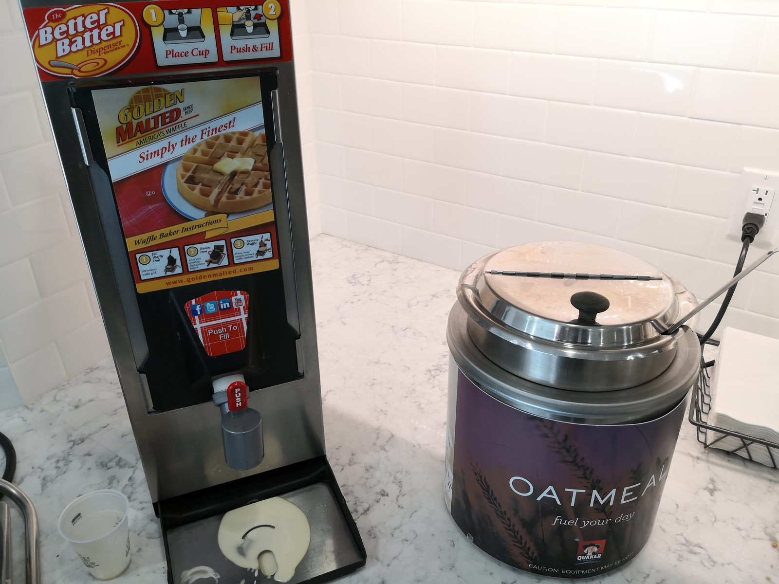 Waffle batter dispenser and oatmeal