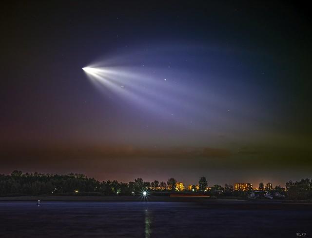 Spaceship (Soyuz MS-15) launch from Baikonur Cosmodrome to ISS Zarya. View from Omsk / Запуск космического корабля Союз МС-15 с Байконура к МКС - вид из Омска