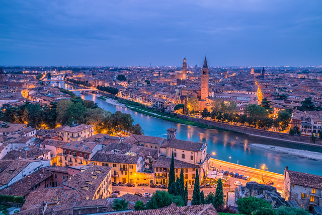 View of Verona at blue hour