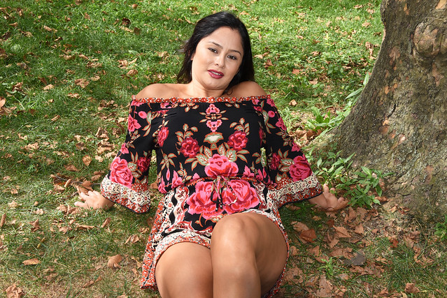 Picture Of Carolina Modeling A Colorful Romper Dress In Central Park In New York City. Photo Taken Sunday September 8, 2019