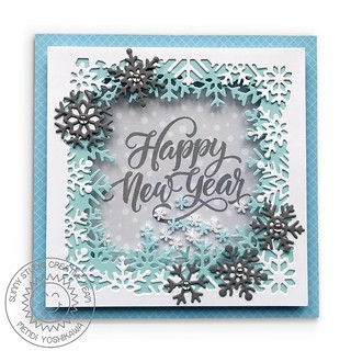 Sunny Studio Layered Snowflake Frame Shaker Card